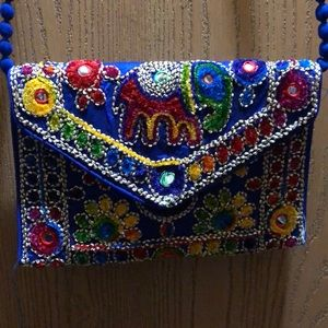 Blue Embroidered Purse